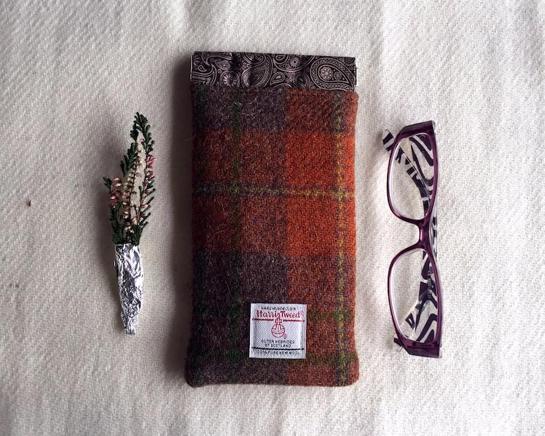 8ce5743cf7a1 Russet Tartan Harris Tweed Sunglasses or Reading Glasses Case