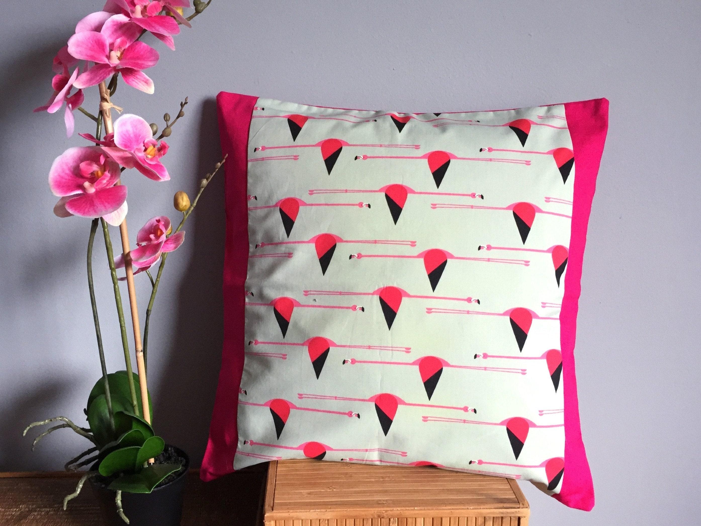 Cerise Pink Pillow Flying Flamingos Design Charley Harper   Etsy