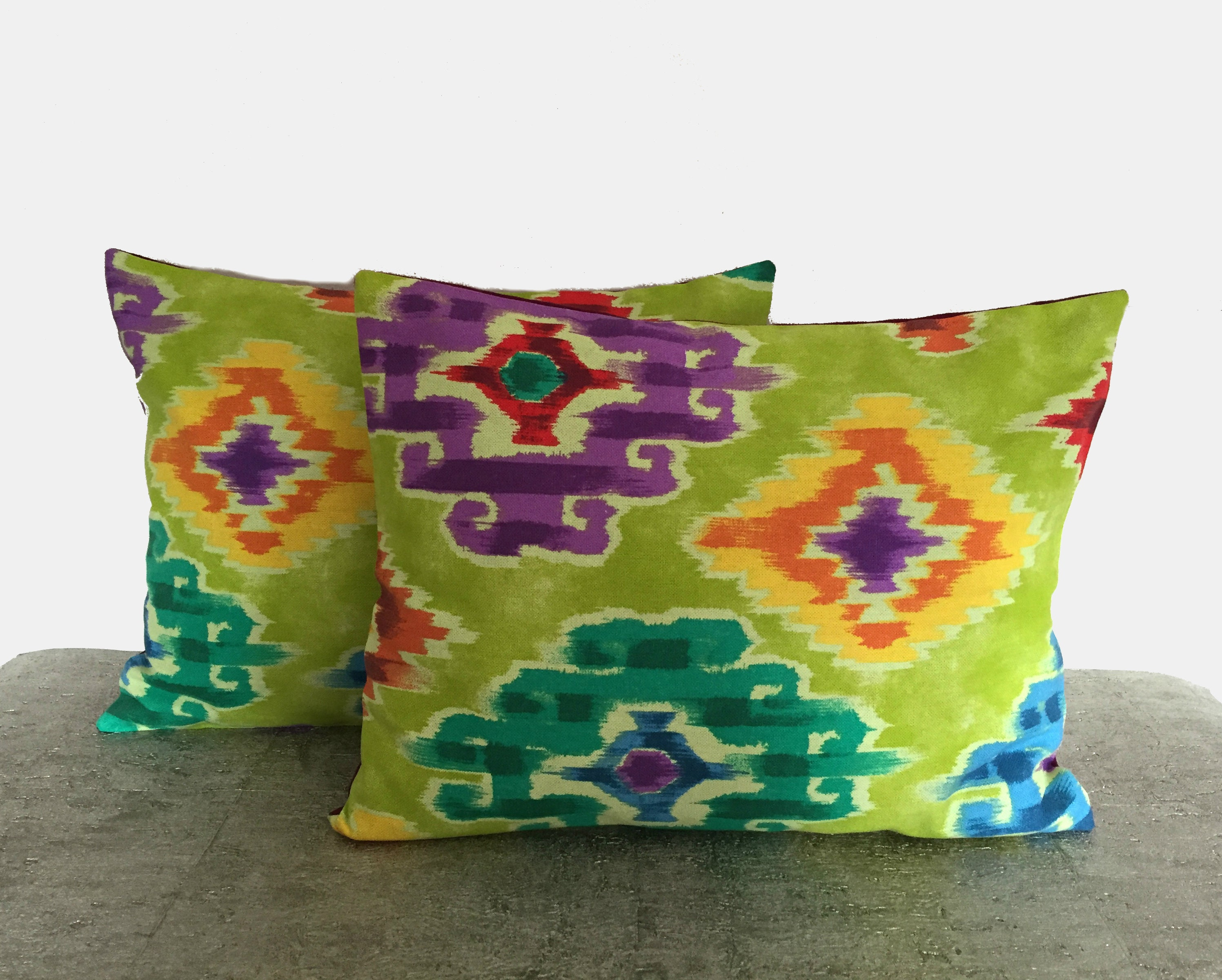 Retro Style Pillow Lime Green and Purple Geometric Design   Etsy