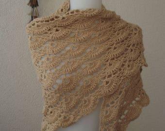 Beige crochet shawl, crochet wrap shawl,bridesmade, accessories,knitted,scarf,scarves,,bridal,wedding