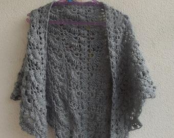 Gray crochet shawl, crochet scarf,wrap crochet shawl, woman shawl,accessories,triangular shawl