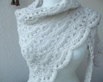 Crochet shawl, wrap shawl, ridal shawl,accessories, wrap stole, triangular shawl
