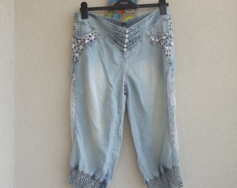 Unique Festival Pants Hippie Festival clothing Beach Summer Hipp Gypsy Clothes Bohemian Fashion Women men wear denim embroidered,capri  pant