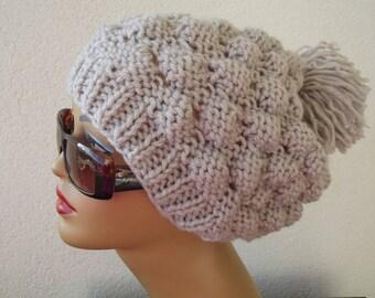 Women Knit Berets, Womens knit winter hat, Valentine's day hat, women winter beret, Warm beige beanie Chunky winter hat, hat knit beanie