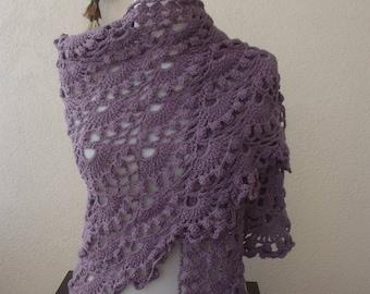 crochet shawl , wrap shawl triangular crochet shawl accessories   crochet wrap shawl lilac wrap shawl