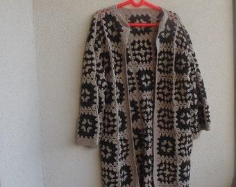 Crochet granny square gipsy hippie boho long coat jacket cardigan