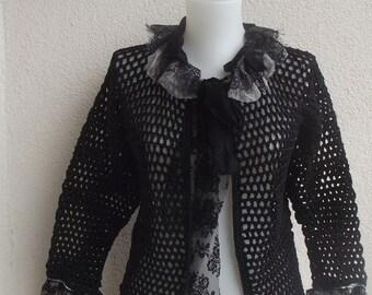 Black Crochet Cardigan, Boho, Chic,Tattared Coat,Mori Girl coat