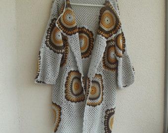 Crochet Cardigan , Granny Square coat, jacket,crochet jacket, boho, gypsy, cotton crochet cardigan