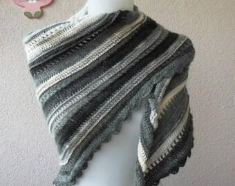 Crochet shawl crochet scarves wrap shawl scarf scsrves mix color gray black white crochet shawl boho shawl wedding shawl winter shawl