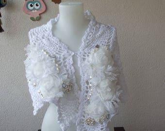 Crochet Shawl, Tattared ,Crochet, Wedding Shrug, Floral,Pearl Free Shipping,Boho Shawl , Mori Girl