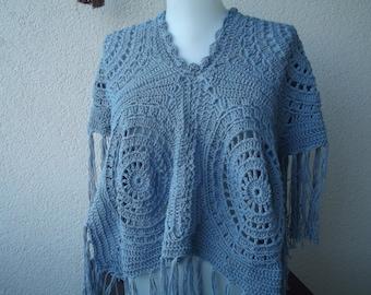 crochet Poncho Blue crochet poncho summer poncho cotton poncho cape women black friday sale