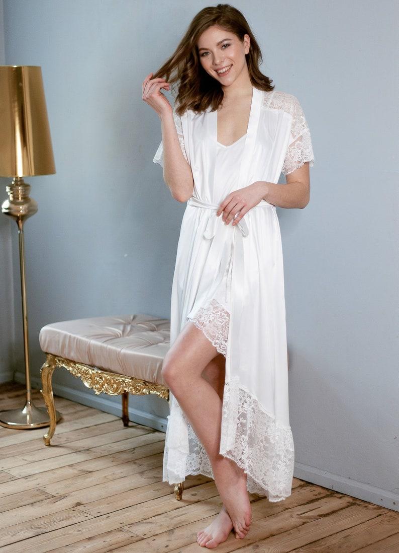78b781ab0dc Dazzling Ivory Satin Robe Bridal Lingerie Wedding Lingerie