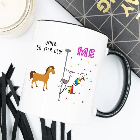 Unicorn Mug 50th Birthday Gift For Women Happy 50th Birthday Mug 50 And Fabulous