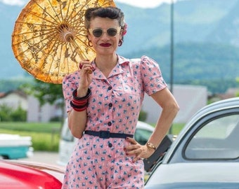 faa30d35609 playsuit romper jumpsuit pink rosa 1940s vintage novelty print puff sleeves