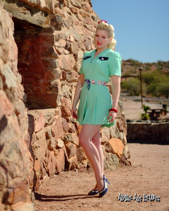 1930s green playsuit reproduction