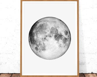 Moon Print Photo La Luna Planet Wall Art Instant Download Photography Printable Full Poster