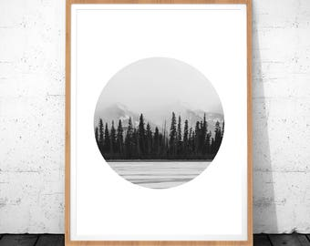 Forest Black White Photography, Forest Circle Photo, Black and White Prints, Black and White Wall Art, Nature Photography, Mountain Print