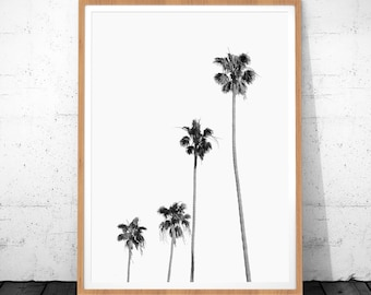 Palm Tree Print, Black And White Prints, Digital Download, Minimalist Art, Palm Tree Art, Modern Art, Tropical Art Decor, Palm Tree Decor