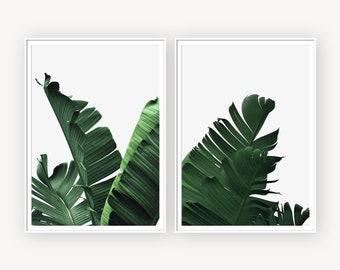 Banana Leaves Prints, Green Leaves, Set of 2 Prints, Set of Two Print, Banana Leaf Poster, Green Prints, Green Home Decor, Leaf Decor