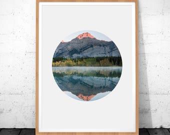 Mountain Print, Nature Print, Mountain Wall Art, Instant Download, Mountain Printable Art, Circle Prints, Landscape Wall Art, Mountain Art