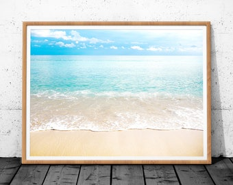 Beach Wall Art, Beach Photography, Ocean Water, Printable Large Poster, Coastal Decor, Colour Photography, Instant Digital Download, Poster