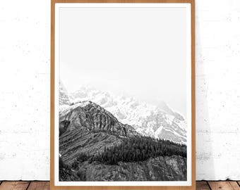 Mountain Print, Landscape Print, Black and White Print, Mountain Wall Art, Wall Print Art, Printable Art, Mountain Photo Print, Mountain Art