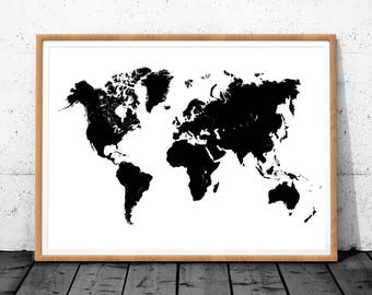 World Map Wood Poster, Printable World Map, World Map Wall Art, World Map Print, World Map Art Decor, World Map Digital, World Map Download