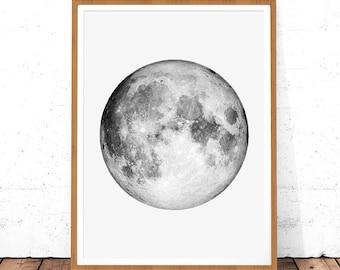 Moon Print, Moon Photo, La Luna Print, Planet Wall Art, Instant Download, Moon Photography, Moon Printable Art, Moon Art,  Full Moon Poster