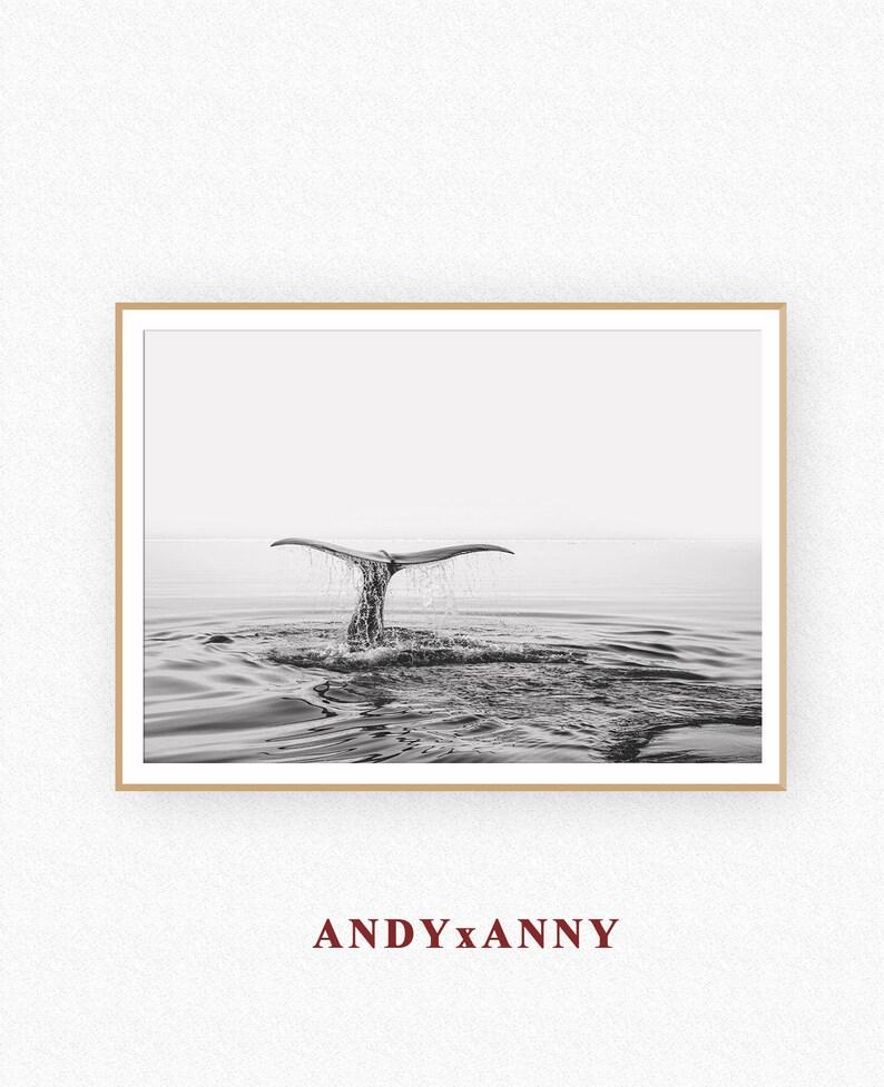 Whale Tail Ocean Print Decor, Printable Wall Art, Ocean Wave Printable,  Black White Photography, Ocean Water Art Decor Coastal Decor, Poster