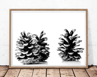 Pine Cone Print, Scandinavian Print, Digital Download, Modern Print Art, Pine Cones Decor, Nordic Print, Printable Wall Art, Pine Tree Print