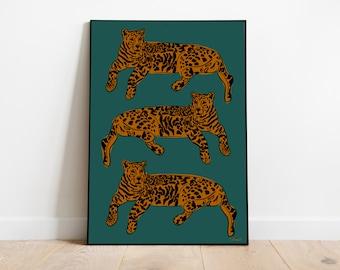 A4 Leopard teal Art print - Wall art / Home Decor