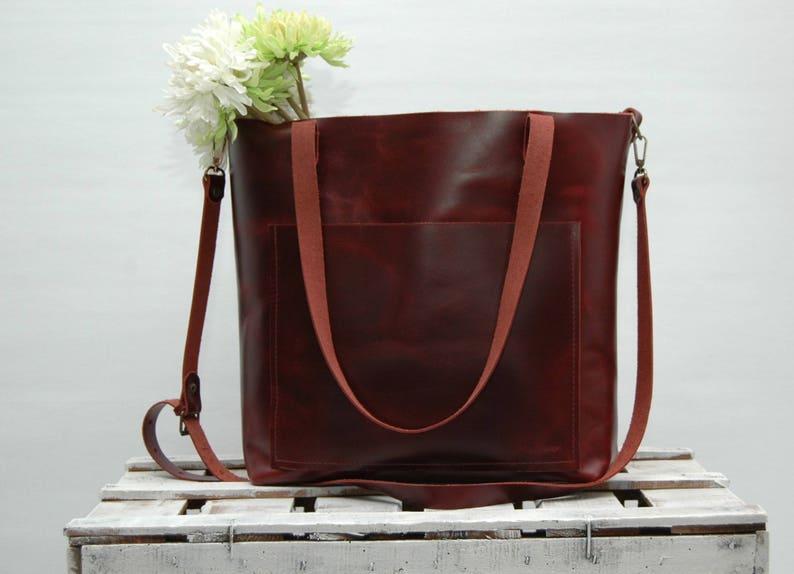 large size,dark cabernet color Leather tote bag