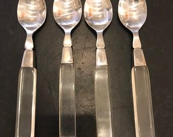 Vintage Lucite Stainless Steel Flatware Set 13 Pieces
