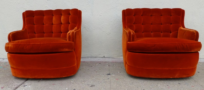 Sensational Reserved Irena Mid Century Modern Luxe Burnt Orange Custom Deep Tufted Swivel Chairs 1960S Glam Chairs Chazan Interiors Velvet Pair Squirreltailoven Fun Painted Chair Ideas Images Squirreltailovenorg