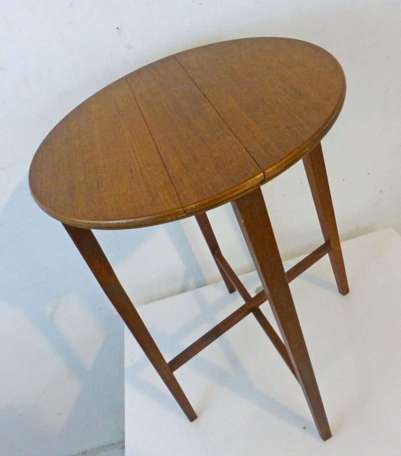 Mid Century Teak Side Table.Vintage Danish Modern Teak Side Table Mid Century Modern Folds Up Perfect For Small Spaces