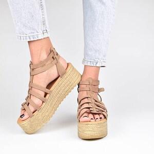 SANDALISTA Ms Gray  Premium Flatform Sandal Brown Suede Leather Platform with Rope Greek Handmade