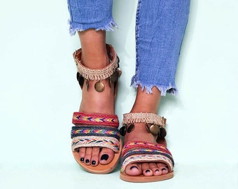 5e050bda Gypsy Chic, Boho Rainbow Ankle-Strap Flats, Greek Handmade Leather Sandals  for Women, Jewelry Lady Sandal