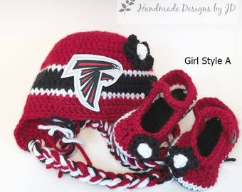 e9382523521 Handmade Crochet Football Baby Hat and Booties Set  Atlanta Falcons  Inspired(Girl)  Photo prop