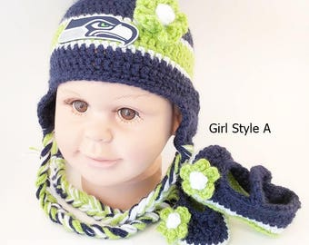 175460c093e Handmade Crochet Football Baby Hat and Booties Set  Seattle Seahawks  Inspired (Girl)  Photo prop