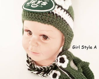 e971d974ce8 Handmade Crochet Football Baby Hat and Booties Set  New York Jets Inspired ( Girl)  Photo prop
