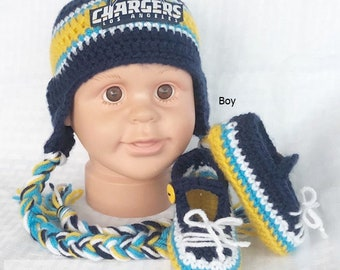 ff3a5d44397 Handmade Crochet Football Baby Hat and Booties Set  Los Angeles Chargers  Inspired (boy)  Photo prop