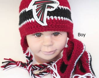 a7ad6357cc3 Handmade Crochet Football Baby Hat and Booties Set  Atlanta Falcons  Inspired (boy)  Photo prop