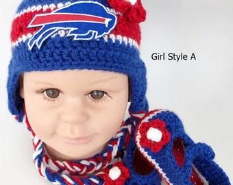 5b1f85ff373 Handmade Crochet Football Baby Hat and Booties Set  Buffalo Bills Inspired ( Girl)  Photo prop