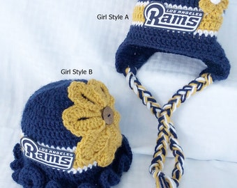 404cadbcd0f974 Handmade, Baby Crochet Los Angeles Rams inspired HAT ONLY in Girl Style, ( Newborn to Adult); Photo Prop and Baby Shower/Birthday Gift