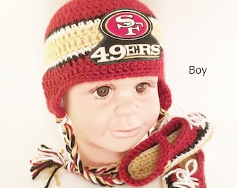 e2c47090bc0 Handmade Crochet Football Hat and Booties Set  San Francisco 49ers Inspired  (boy)  Photo prop