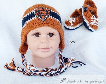 ec867e67f2e Handmade Crochet Football Baby Hat and Booties Set  Chicago Bears Inspired  (boy)  Photo prop