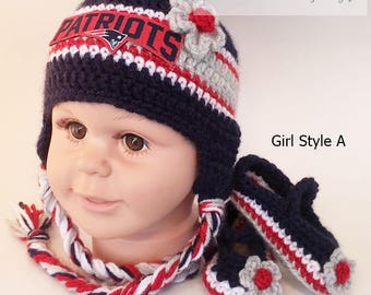 a100b7332 Handmade Crochet Football Baby Hat and Booties Set; New England Patriots  Inspired (Girl); Photo prop, Birthday/Baby Shower Gift. Sports Hat