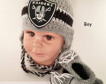 8b249318058 Handmade Crochet Football Baby Hat and Booties Set  Oakland Raiders Inspired  (boy)  Photo prop