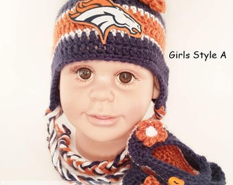 529b144f60c Handmade Crochet Football Baby Hat and Booties Set  Denver Broncos Inspired  (Girl)  Photo prop