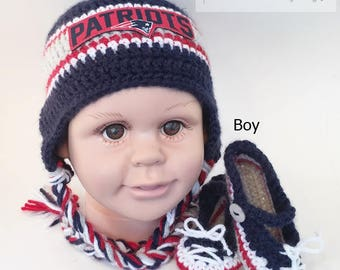 2259988f9 Handmade Crochet Football Baby Hat and Booties Set; New England Patriots  Inspired (boy); Photo prop, Birthday/Baby Shower Gift. Sports Hat.